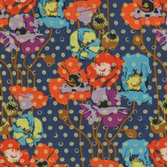 Anna Maria Horner - Field Study Rayon Challis - Raindrops Poppies in Lustre