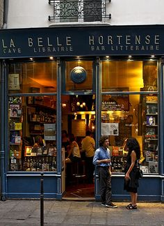 La Belle Hortense, in the Marais, is a wine bar and bookstore ~ Paris. A wine bar/bookstore? Can you say heaven?!