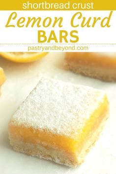 Lemon Bars with Lemon Curd Lemon Curd Bars-These homemade lemon bars with lemon curd are sweet and tangy. This is a delicious recipe with a crunchy shortbread crust. If you are a lemon lover, you should definitely try this from scratch easy lemon squares! Lemon Curd Bars Recipe, Recipes Using Lemon Curd, Lemon Curd Dessert, Lemon Squares Recipe, Recipe Using Lemons, Easy Lemon Curd, Lemon Dessert Recipes, Lemon Bars, Lemon Recipes