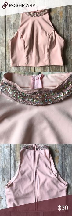 Crystal Doll blush embellished crop top Gorgeous bling top,  beautifully pairs with your favorite bottom for any special occasion!   💃🏽Prom, homecoming, spring parties, dance, wedding quinceaneras, mother of the bride, bridesmaid dress whatever your special occasion, this top will turn heads!   Check my closet for a bundle deal & to pick your perfect bottom to pair. Ships within 24 hours. Crystal Doll Tops Crop Tops