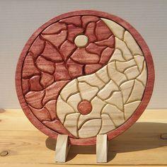 #Wooden Mosaic Yin Yang Tray Puzzle