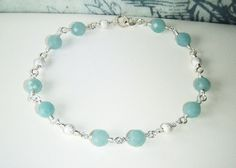 Amazonite & silver stardust bracelet sterling by oneoffcreations, $20.00