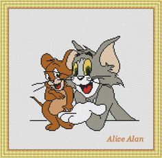 Tom and Jerry popular cartoon characters for от HallStitch на Etsy