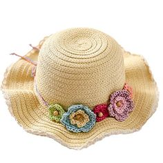 ed21735a0a5e1 Connectyle Kids Fashion Lovely Summer Straw Hat Cap Flower Beach Sun  Protection Hats for Girls Connectyle