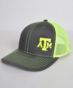 3f522c8ede4af Texas A M Aggies Richardson Charcoal and Neon Yellow Mesh Back Cap Tent  Sale