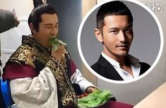 Huang Xiaoming Munches on Whole Lettuce Leaves for Snack
