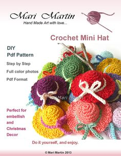 Crochet Mini Hat Pattern Christmas Decor Applique DIY PDF Garden Nursery Decoration Baby Shower Download Immediately
