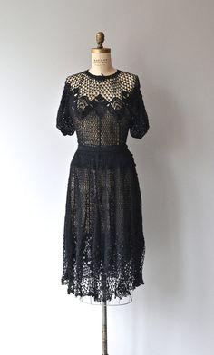Ravenwood dress vintage 1970s crochet dress black by DearGolden