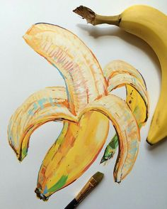 Simple banana still life that has stunning detail.