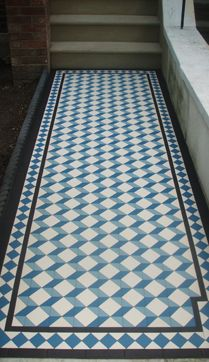 Olde English Tiles Grafham design - the blue makes for a nice change to the standard black and white paths, really makes an impact