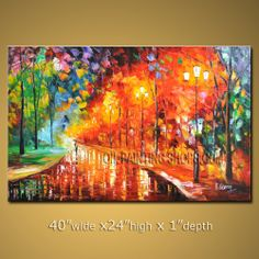 Stunning Original Impressionist Palette Knife High Quality Oil Painting Gallery Stretched Landscape. In Stock $196 from OilPaintingShops.com @Bo Yi Gallery/ ops2980