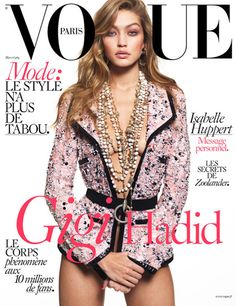 Gigi Hadid by Mert Alas and Marcus Piggott for Vogue Paris March 2016. She is glamorous just in Chanel tweed jacket!