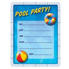 Pool Party #Invitation - Free #Printables #Summer Party | Summer ...