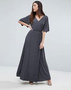 Warehouse Split Sleeve Wrap Maxi Dress