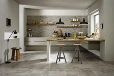 Find a huge collection of modern kitchen tiles at UK Tile Shop Kitchen Office, Kitchen Interior, New Kitchen, Home Interior Design, Kitchen Dining, Modern Kitchen Tiles, Kitchen Flooring, Kitchen Layout Plans, Bathroom Showrooms