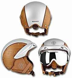 Bogner have created this bamboo ski helmet which combines style with safety. The helmet is made using a monocoque in-mold process which allows its outer Cool Motorcycle Helmets, Cool Motorcycles, Bicycle Helmet, Custom Helmets, Custom Bikes, Biker Gear, Helmet Design, Riding Gear, Looks Cool