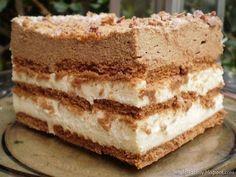Ciasto Kawosz- z kawową pianką i kremem- bez pieczenia-pyszne Dessert Cake Recipes, Sweets Cake, Cupcake Cakes, Delicious Desserts, Yummy Food, Polish Recipes, Tray Bakes, No Bake Cake, My Favorite Food