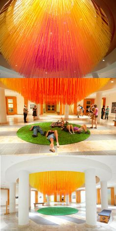 """""""Letting Go,"""" Eric Rieger aka HOT TEA massive installation at the Minneapolis Institute of Arts. The piece uses 84 miles of colored string that forms the artist's interpretation of the sun."""