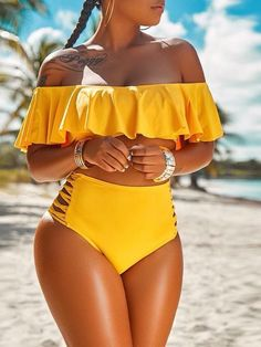 We adore this stylish flirty bikini which is sure to become a closet favorite. This is a plain, ruffle sleeve, off shoulder, two piece bikini. This regular bikini is made from polyester Two Piece Swimsuits, One Piece Swimwear, Women Swimsuits, Swimsuits For Curves, Cute Swimsuits High Waisted, Modest Swimsuits, Two Piece Bikini, Plus Size Bikini Bottoms, Women's Plus Size Swimwear