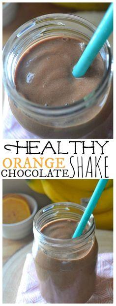 Healthy Orange Chocolate Shake.  No Added Sugar and can be easily made vegan.
