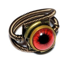 Steampunk Jewelry - RING - Red taxidermy glass eye - Size 8 ONLY