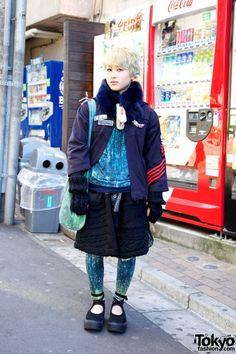 Blonde Harajuku Girl's Monikoto Top & Macaronic Cable Knit Skirt.