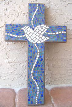 Custom Order Mosaic Cross Decorative Cross Wall by bluewaveglass
