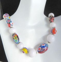 Murano Glass Necklace, 1970s Venetian Glass and Lucite Bead Choker, 17 inch Length