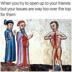 Dante and Virgil meet Muhammad in the eighth circle of Hell (Inferno, Canto XXVIII) Dante Alighieri, Divina Commedia, Genoa century Bodleian Library, MS. Classical Art Memes, Funny Tweets, Funny Memes, Memes Humor, 9gag Funny, It's Funny, Funny Laugh, Medieval Memes, Renaissance Memes