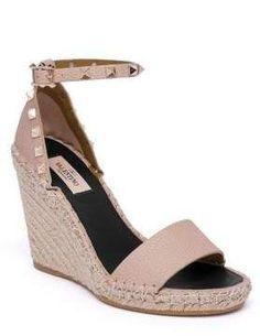 57f3174f337 Valentino Garavani Rockstud Double Leather Espadrille Wedge Sandals. Rock  these Rockstuds!  ad Valentino