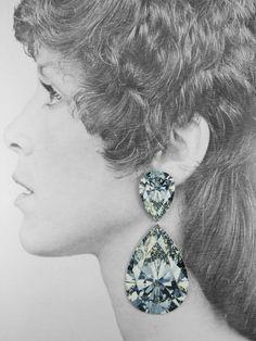 Anna Davern -  ROCKS EARRINGS L double pear diamond