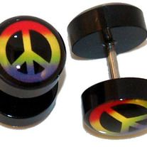 "One Pair (2 pieces) of UV Colorful Peace Sign Fake Ear Cheaer Plugs 16G - Fake Plugs,Fake Gauges-High quality Acrylic - 10mm Gauge Acrylic ends - 316L Stainless Steel Shaft - Size: 16 gauge - Length: 1/4"" (6mm) - Color: Rainbow -msin39"