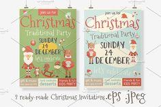 Christmas Invitations by elfivetrov on @creativemarket