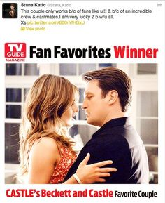 Stana's tweet about Beckett and Castle winning TV Guide's Favorite Couple