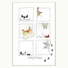 Looking For Trouble Cat Print - Cats & Kitten - Katzen Watercolor Cat, Watercolor Animals, Watercolor Paintings, Simple Watercolor, Gato Doodle, Doodle Art, Cat Quilt, Happy Paintings, Cat Cards