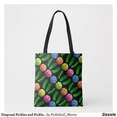 Diagonal Pickles and Pickleballs - Tote Bag
