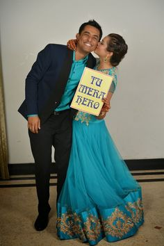 """""""tue mera hero"""" - """"you're my hero"""" - cute signs to have at your Indian wedding photo booth."""