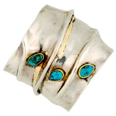 Bracelet | signed DIANA (Possibly Navajo artist).  Native American Silver, 14k Gold and Turquoise.