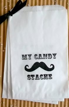 "50 Moustache Theme White Retro "" MY CANDY STACHE"" candy buffet bag. $20.00, via Etsy."