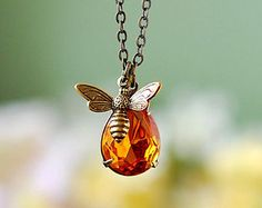 Ape miele ape collana con Swarovski topazio miele goccia ape | Etsy