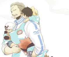 One Piece, Happy family, Smoker with little Luffy, Law & Kid