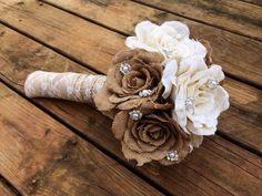 Large Burlap Bouquet - Shabby Chic Wedding - Rustic Wedding - Rustic Bouquet by CountryBarnBabe on Etsy https://www.etsy.com/listing/173494141/large-burlap-bouquet-shabby-chic-wedding