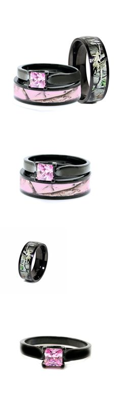 CZ Moissanite and Simulated 92878: His Black Camo Band, Her Pink Titanium Engagement Wedding Ring Set Pink Princess BUY IT NOW ONLY: $45.99