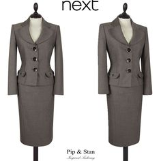 NEXT UK8/10 US4/6 BEIGE PENCIL SKIRT SUIT 50S INSPIRED WOMEN SIZE PIP AND STAN