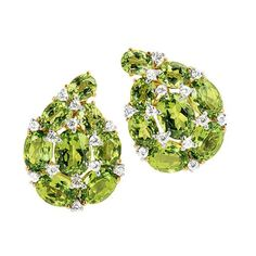 Verdura Paisley Earclips - faceted peridots, platinum and diamonds