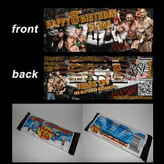 WWE CANDY BAR WRAPPERS. Jacks birthday party