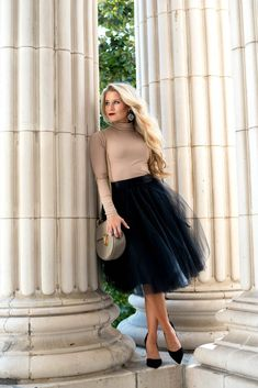 Black Tulle Skirt with Camel Top for Fall - OliviaRink.com