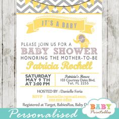 Personalized printable yellow and gray baby elephant invitation card in grey, yellow and red with a chevron backdrop. #babyprintables