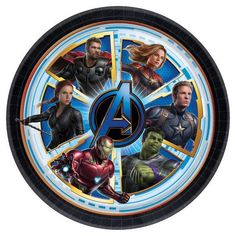 ~ Birthday Party Supplies Lunch 8 CAPTAIN AMERICA Civil War LARGE PAPER PLATES