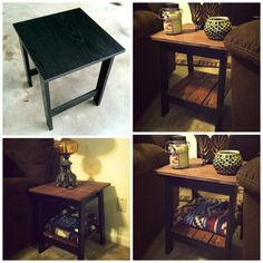 DIY rustic table. Total cost: $10.00 for wood glue, sand paper and stain. We got the pallets for free.  This is what hubby and I did for our weekend project! fixed up our side tables with old pallets! so excited how they turned out! and such an easy DIY, Cut, sand, stain, seal and glue! easy and a cute way to make boring pieces rustic! We even added additional shelving to the bottom for our blankets :) (both end tables are the same color, lighting was different)